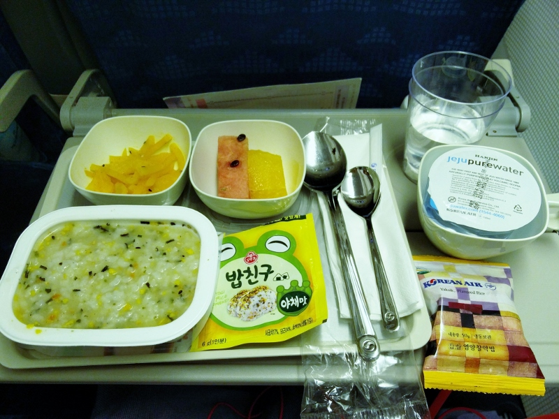 What to expect when traveling with korean air eating with kirby on our flight coming back i chose the korean breakfast instead of the omelette my meal came with porridge and a side package of furikake dry japanese forumfinder Image collections