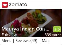 Maurya Indian Restaurant on Urbanspoon