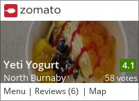 Yeti Yogurt on Urbanspoon